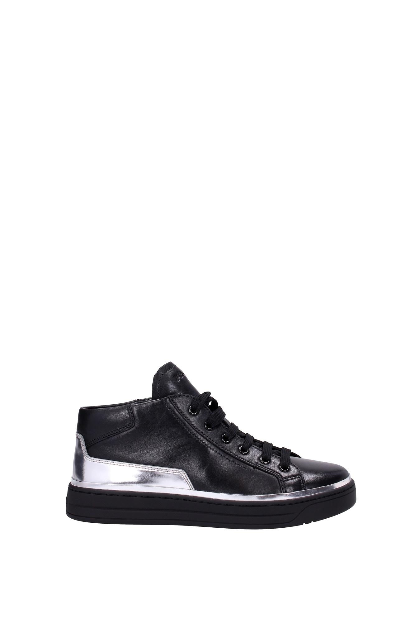 sneakers prada damen leder schwarz 3t6056nero ebay. Black Bedroom Furniture Sets. Home Design Ideas