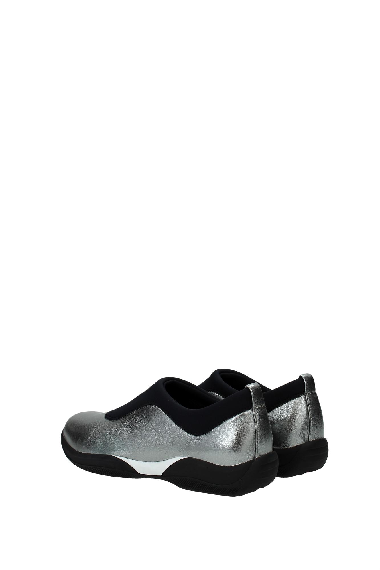 sneakers prada damen leder grau 3s6099metalnero. Black Bedroom Furniture Sets. Home Design Ideas