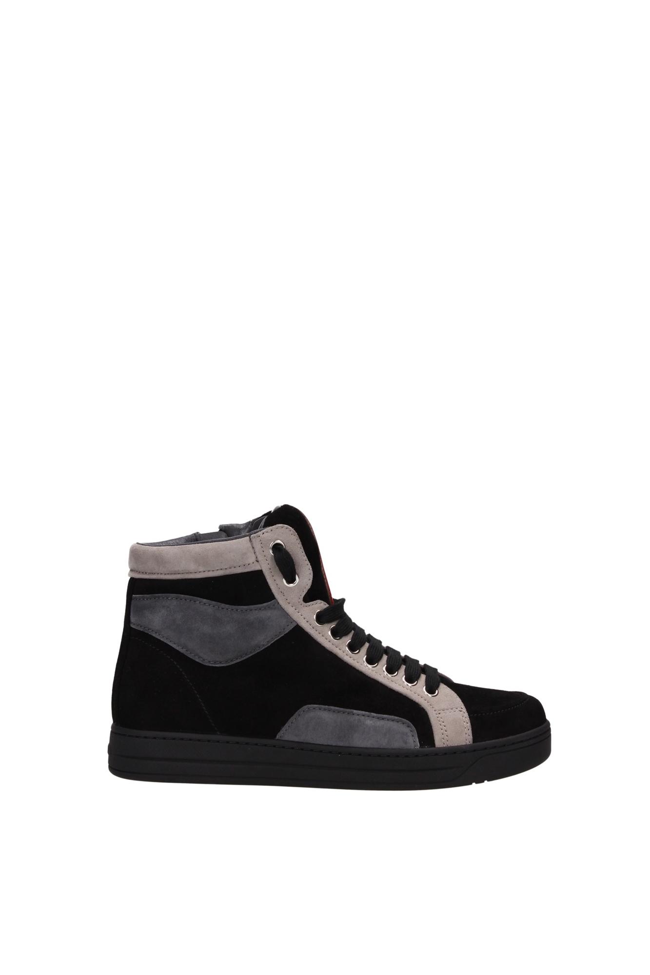sneakers prada damen wildleder schwarz 3t5870neropomicenebbia. Black Bedroom Furniture Sets. Home Design Ideas