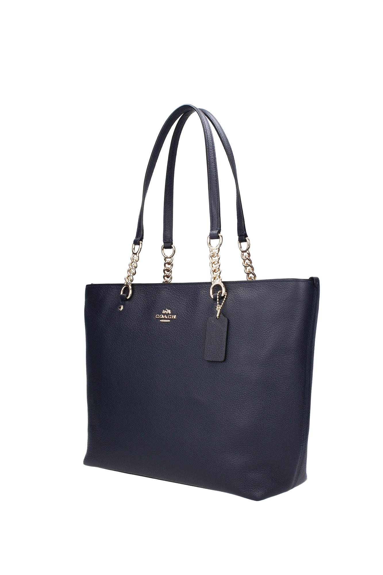shopper taschen coach damen leder blau 36600linav ebay. Black Bedroom Furniture Sets. Home Design Ideas