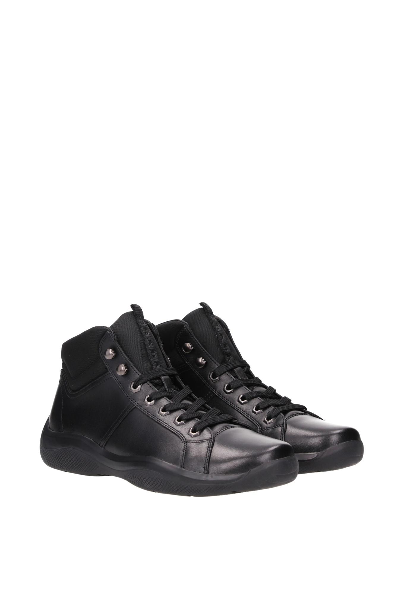 sneakers prada herren leder schwarz 4t2762nero ebay. Black Bedroom Furniture Sets. Home Design Ideas