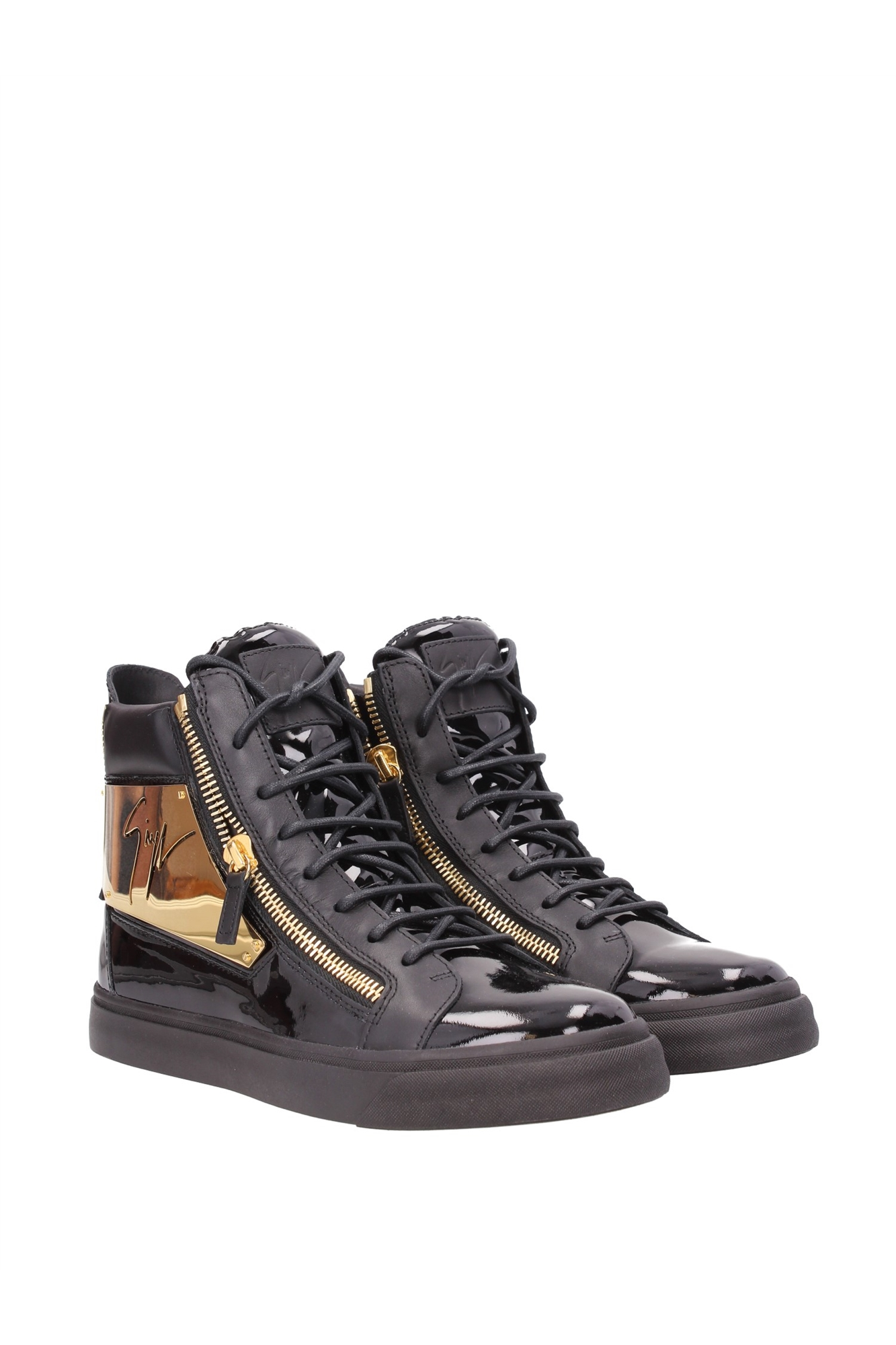 sneakers giuseppe zanotti herren lackleder schwarz rm5018005neor ebay. Black Bedroom Furniture Sets. Home Design Ideas