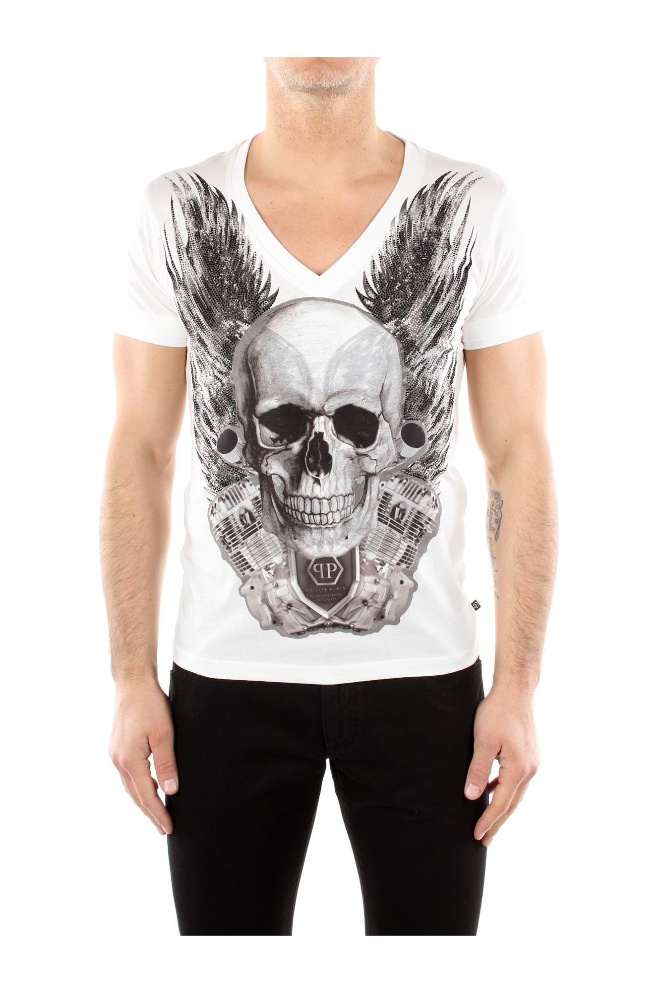t shirt philipp plein men cotton white hm34532101 ebay. Black Bedroom Furniture Sets. Home Design Ideas