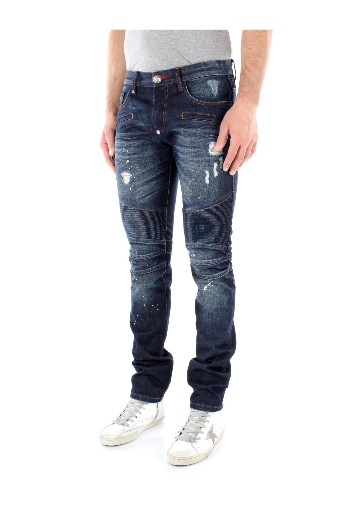 jeans philipp plein herren baumwolle blau hm59528014zb ebay. Black Bedroom Furniture Sets. Home Design Ideas